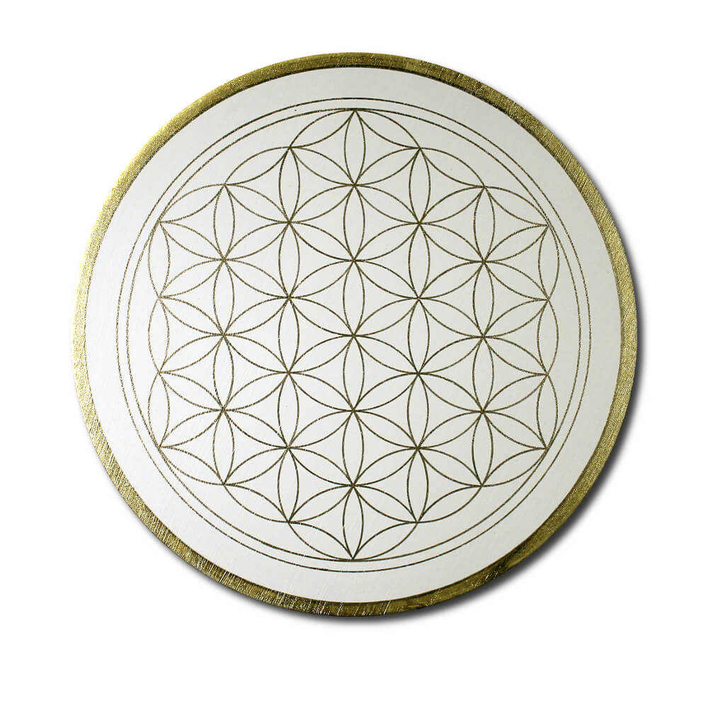 Flower of Life 'Clarity' wall art in gold - handpainted from size 30 cm round